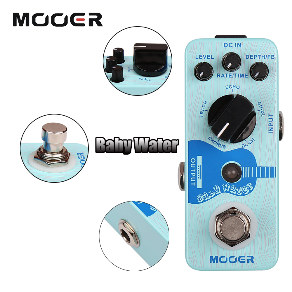 Mooer Single Acoustic Delay Chorus Effects Full Metal Shell Baby Water Effect Guitar Pedal True Bypass mooer ensemble queen bass chorus effects effect pedal true bypass rate knob high quality components depth knob rich sound