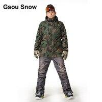 Gsou Snow Men Waterproof Ski Suit Military Snowboard Jacket Sport Top Warm Up Windproof Winter Coat