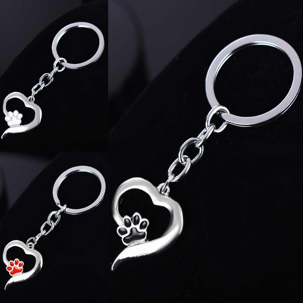 Love Heart Cute Pet Paw Claw Print Footprints Charms Keychain Women Men Keyring Jewelry Gifts For Dog Cat Lovers Key Chain Ring