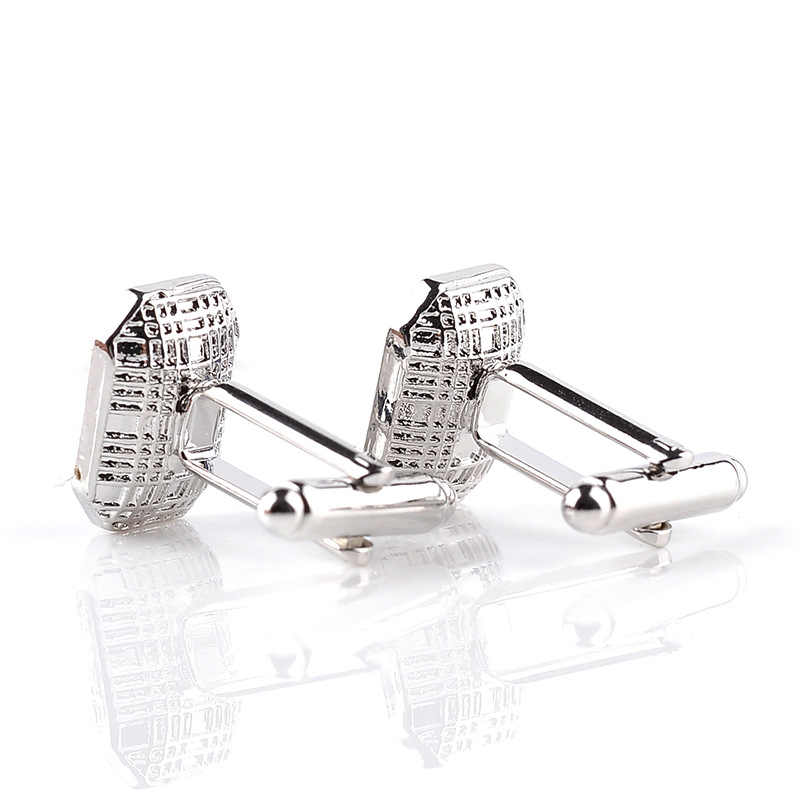 4 Gaya Manset untuk Mens Sihir Ungu Biru Rhinestone Stainless Steel Perak Pakaian Pria Aksesoris Pernikahan Manset Pin