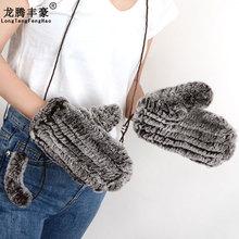 2017 Brand Women Gloves Fashion Winter Gloves Ladies 100% Genuine Fur Rabbit Fur Gloves Knitted mittens warm Gloves & Mittens