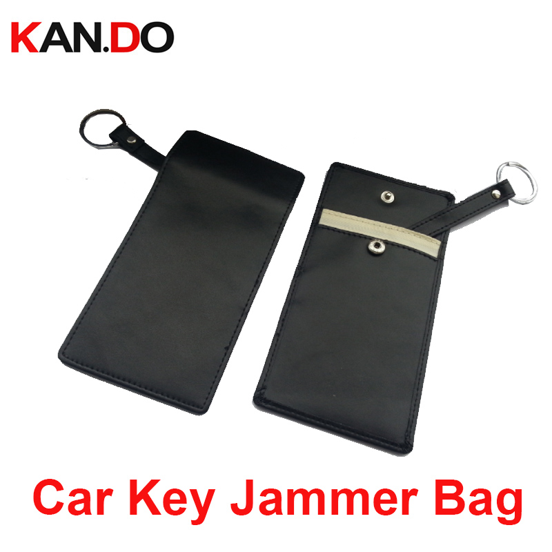 Leather Car Key Jammer Bag Car Key Sensor Jammer Bag Card Anti-Scan Sleeve Bag Protection Phone Signal Blocker Remote