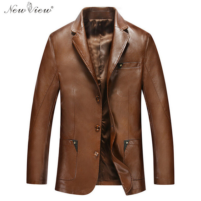 2017 Leather Jacket Men Brand Clothing Faux PU Leather Coat Jaqueta De Couro Masculina Business Casual Outerwear Plus Size 3XL