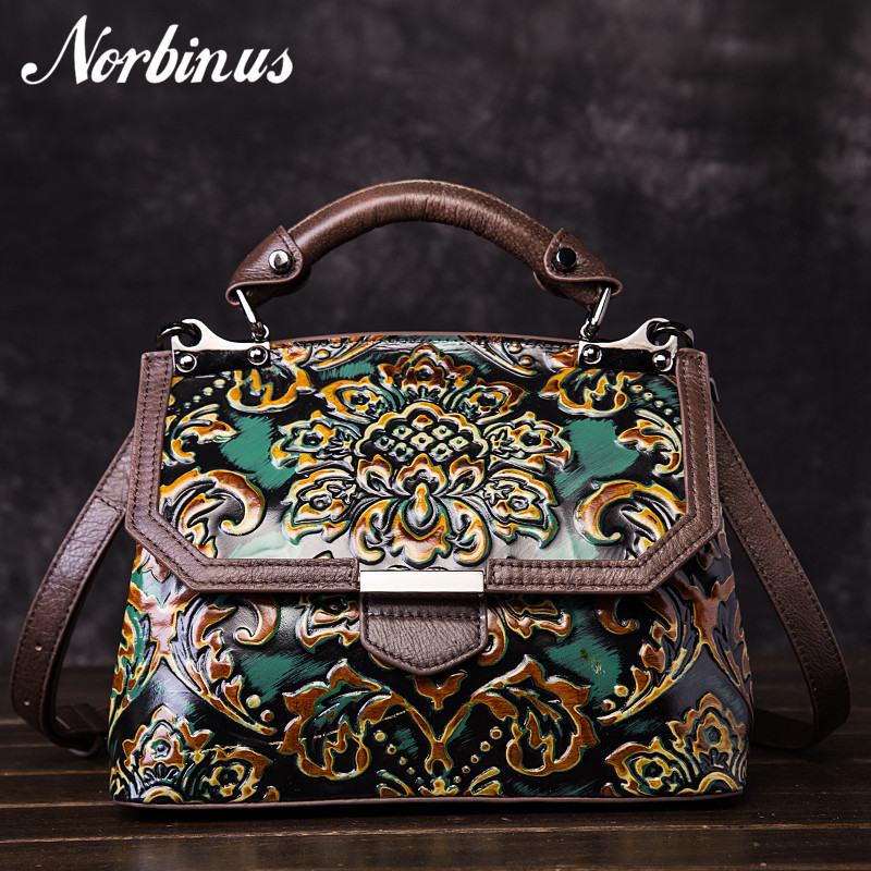 Norbinus 2018 Women Genuine Leather Bags Embossed Crossbody Handbag Vintage Cowhide Top Handle Bag Messenger Shoulder Tote Purse vintage style women s genuine leather handbag tote top cowhide shoulder bag clutch evening bag braided handle
