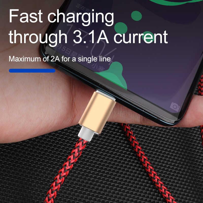 Высокопрочный круглый кабель 3 в 1 кабель для зарядки, рок, 3A USB кабель для освещения Micro Тип C для iPhone 8 X Xiaomi samsung S8 Быстрая зарядка 120 см