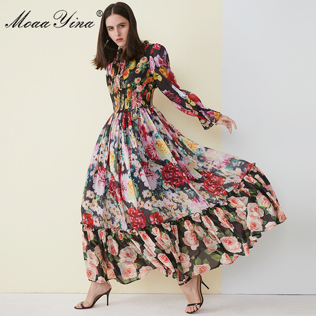 MoaaYina High Quality Women's Summer Beach Chiffon Ruffled collar Dress Elegant Elasticity Waist Print Runway Maxi Long Dress
