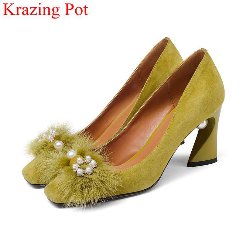 2019 fashion large size office lady shoes pearl shallow high heels women pumps elegant casual handmade