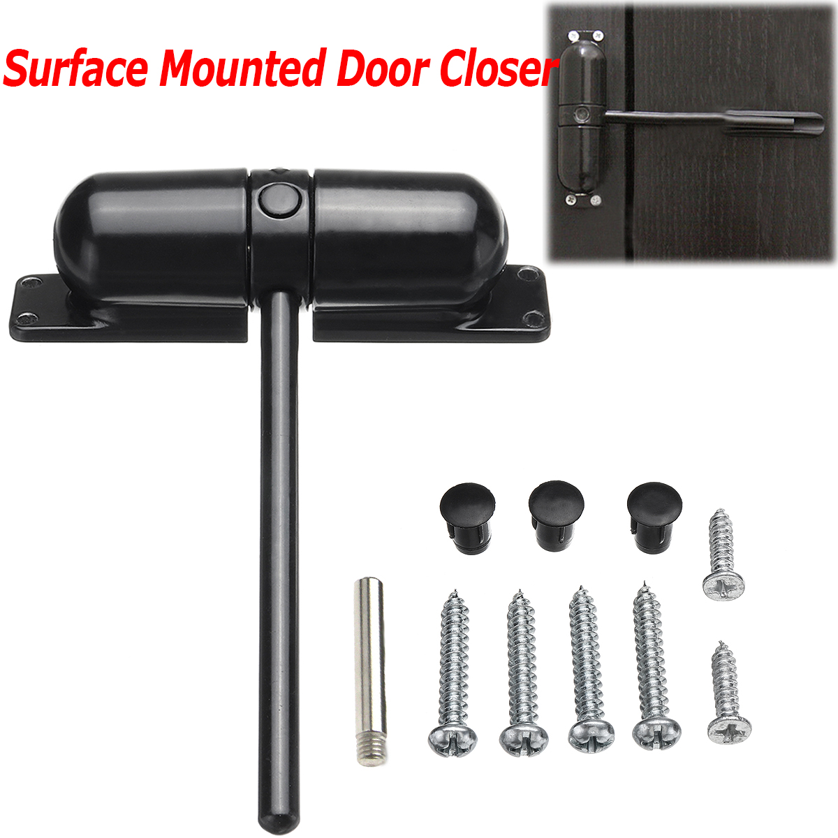 Surface Mounted Door Gate Closer Black Outdoor Spring Elastic Loaded Adjustable