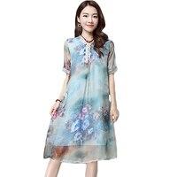 Vintage Women Summer Dress Big Size 2017 European Style Boho Dress Short Sleeve Floral Print Midi
