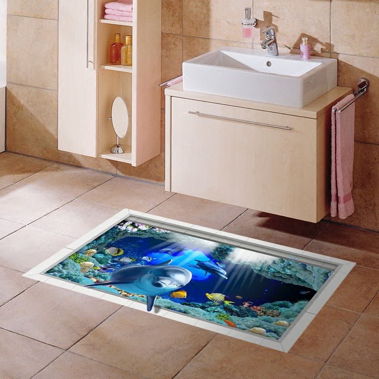 3d Anti Skid Stickers Waterproof Bathmats Kitchen Home Creative Painting Bathroom Tile Posters Kid S Room