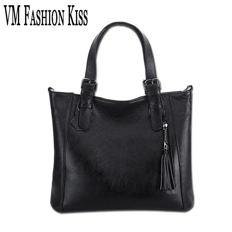 VM FASHION KISS Elegant Lady Litchi Pattern Genuine Leather Handbags Leisure Tassel Cowhide Shoulder Bags Adjustable Handle