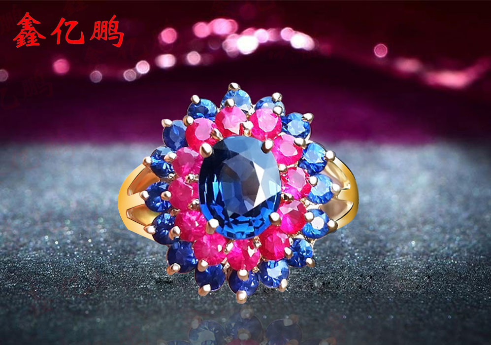 18 k gold inlaid natural pigeon eggs ruby sapphire ring women to quit 18 k gold natural ruby jewelry set