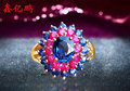 18 k gold inlaid natural pigeon eggs ruby sapphire ring women to quit