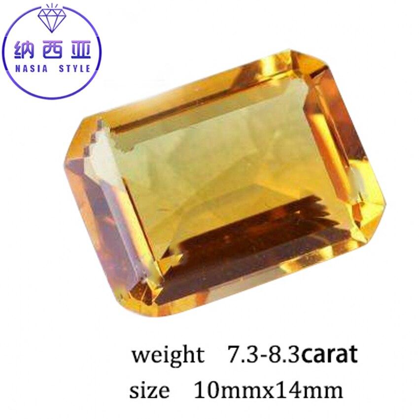 7.3-8.3 карат натуральный желтый цитрин кристалл раздел Бразилии Изумрудный Cut Бусины свободные камень, пригодный для DIY Ювелирные украшения р... ...