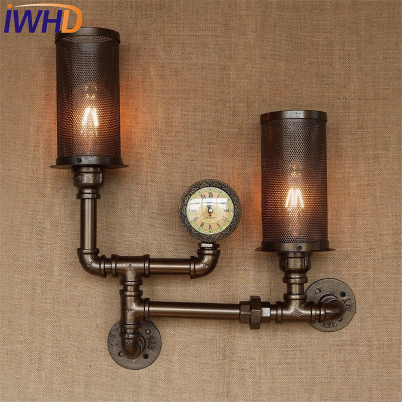loft style creative clock water pipe lamp industrial vintage wall light fixtures for edison wall. Black Bedroom Furniture Sets. Home Design Ideas