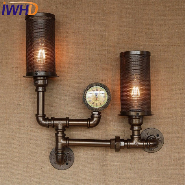 Loft style creative clock water pipe lamp industrial for Pipes and lights