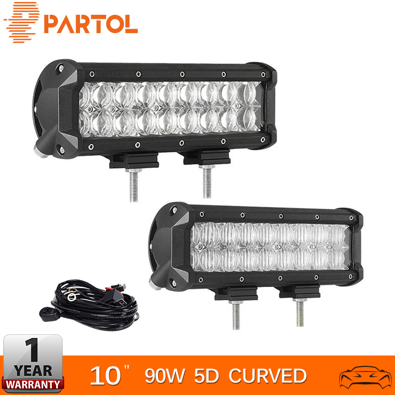 Partol 2pcs 10 90W 5D LED Light Bar Work Light 2-Rows Spot Flood Beam Car ATV SUV Auto Truck LED Bar 4X4 Offroad Driving Lamp image