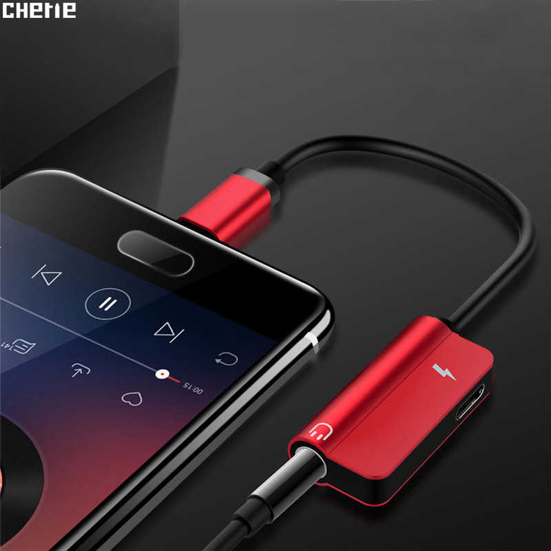 Cherie Aux Audio Headphone Converter Type C to 3.5mm Earphone Jack Adapter For Xiaomi mi9 Samsung S10+ charger 2 in 1 USBC Cable