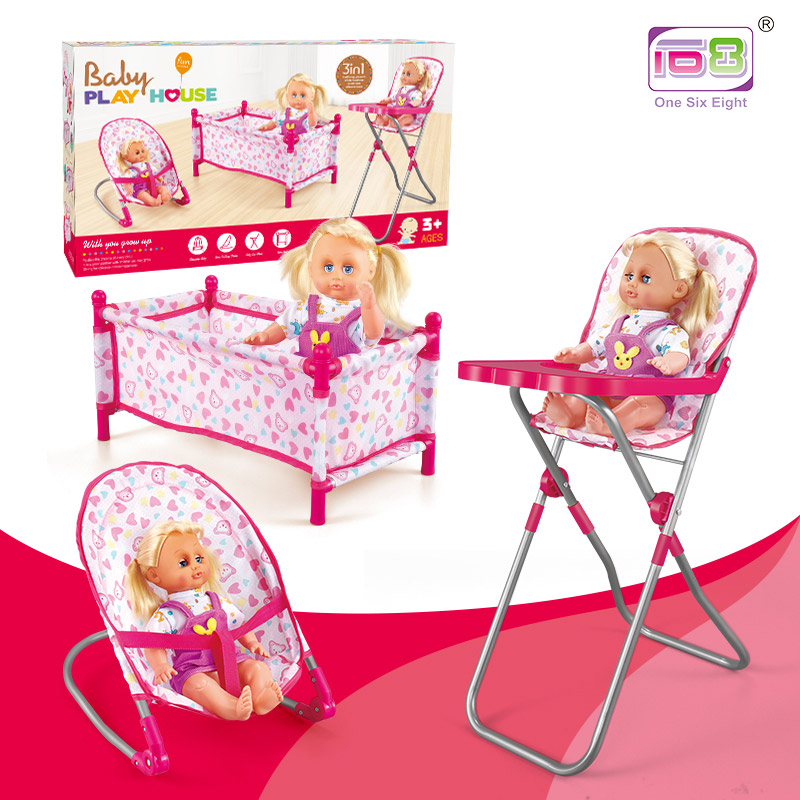 4 in 1 Baby Kids Folding Chair Dining Chair Swing Stroller Crib Bed Dolls Toys Set Gift Box Simulation Game Toys