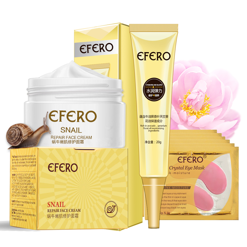 7Pcs/set Face Care Snail Cream Anti Aging Wrinkles Face Serum Collagen Eye Cream Eye Mask Eye Patches Remove Fine Line Skin Care