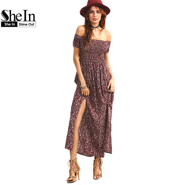 6390fa45a43 SheIn Ladies Dresses 2016 Summer Vintage Burgundy Short Sleeve Shirred  Off-The-Shoulder Slit