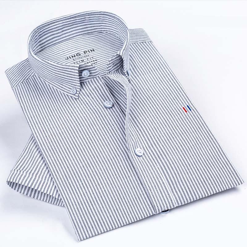 Aoliwen 2019 men Men Brand Oxford Short Sleeve Shirt Solid color stripes Slim fit 100 cotton
