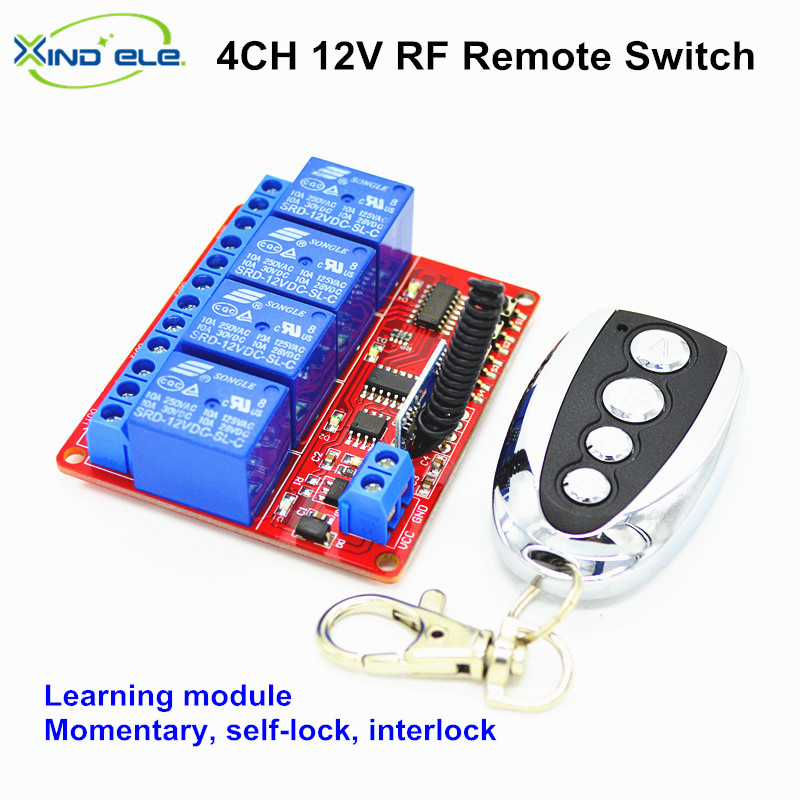 24V DC 4CH 10A Relay Wireless Remote Control Switch Receiver Transmitter Learning 433 mhz Normally Open/Closed Door Access LED long range remote control switch dc 12v 1 ch 10a relay 4 receiver 1 transmitter learning code 315 433 4204