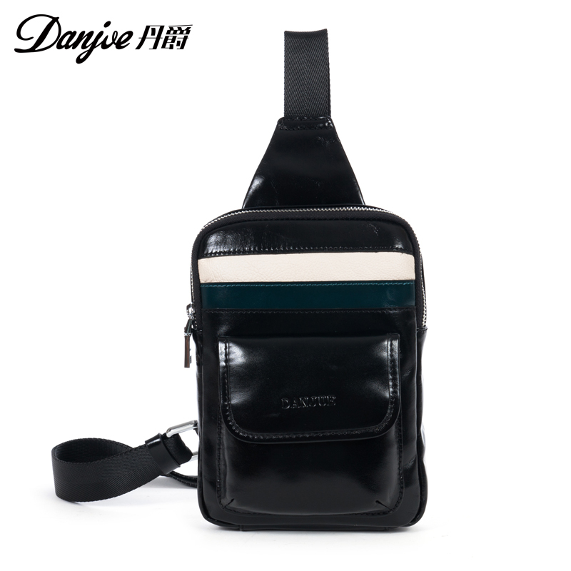 ФОТО Real Of Cowhide leather Man Bag Chest Pack Fashion Casual natrual leather men shoulder bags Crossbody Bag