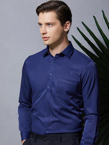 Shirt Pocket Basic-Dress Easy-Care Stretch Non-Iron Long-Sleeve Business Formal Men's