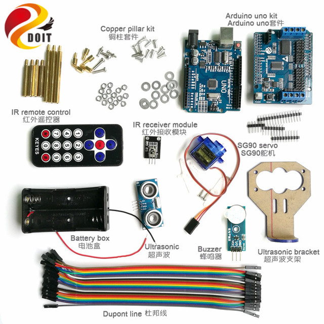 DOIT 1 set Infrared Remote Control Obstacle Avoidance Controller kit with SG90 Servo for Tank Car Chassis Arduino kit
