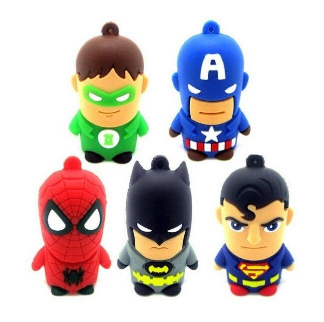 Hot Cartoon Superman Spiderman Batman Captain America Silicone USB Flash Drive Pen Drive 2GB 128GB  256GB16GB 32GB 64GB USB 2.0