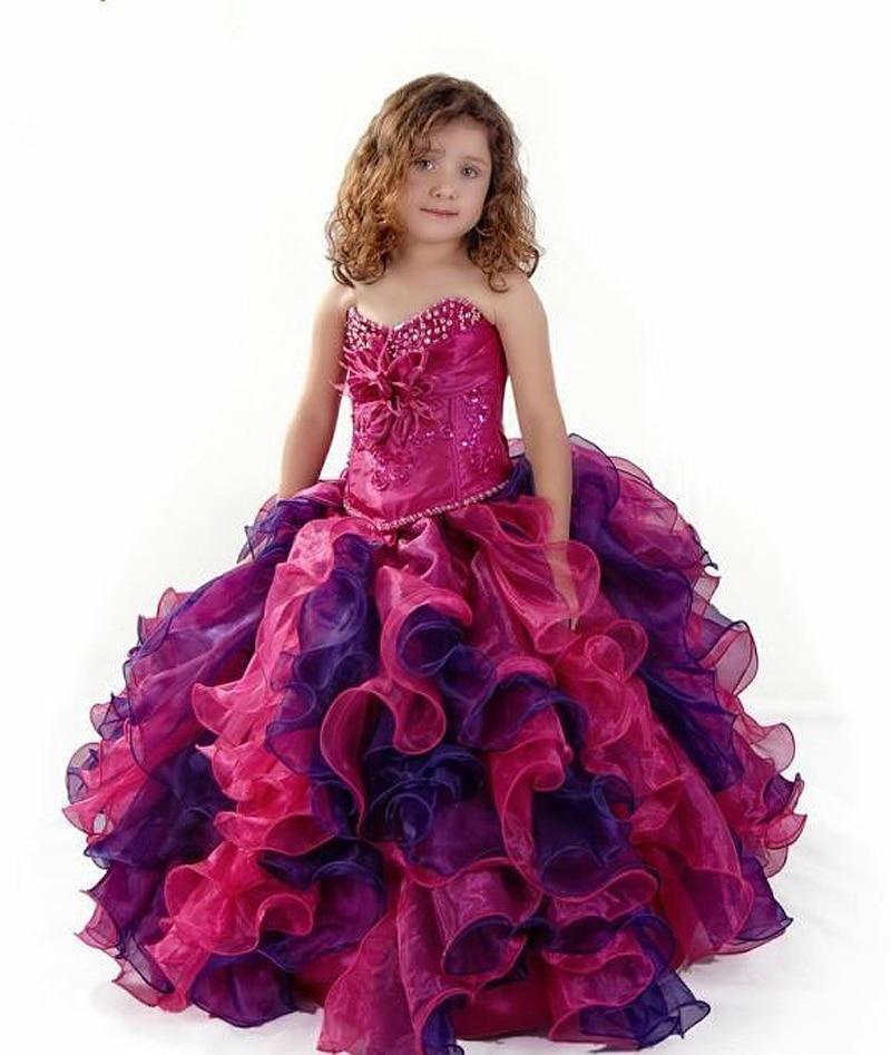 Aliexpress.com : Buy Red Ruffles Long Children Flower Girl Dress ...
