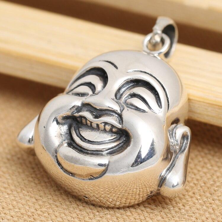 Hecho a mano 925 Plata tibetana cabeza de Buda sonriente colgante vintage plata de ley feliz Buda colgante amuleto de la suerte-in Colgantes from Joyería y accesorios    1