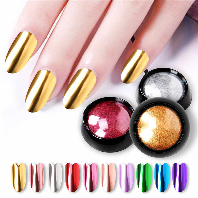 0.5g/box Mirror Nail Powders Metallic Effect Rub Nail Art Glitters UV Gel Polish Chrome Pigment Dust DIY Manicure Decorations