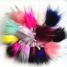 купить 20pcs/Lot Colorful Cute Water drop Design  Faux Rabbit Fox fur Pompon for   Chain Bag Chain Curtain Tassel  онлайн