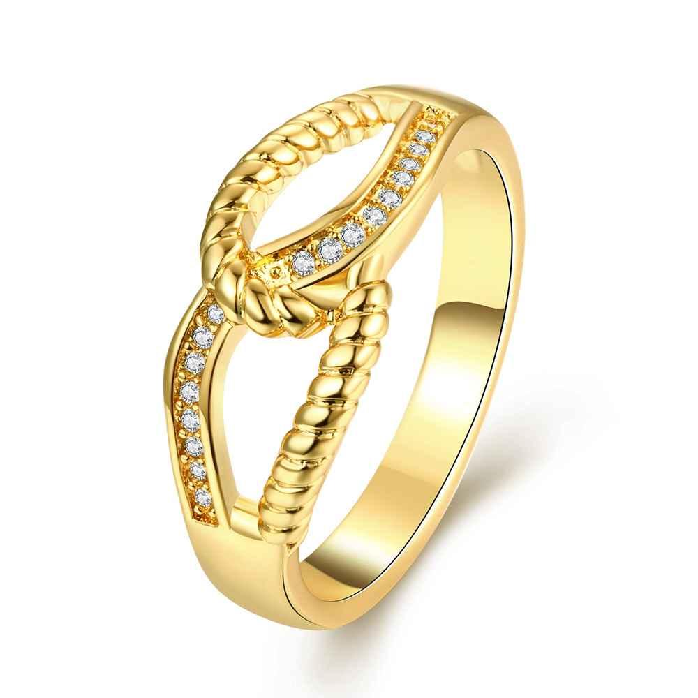 el envo libre nueva joyera de las mujeres chapado en oro anillo de bodas mano