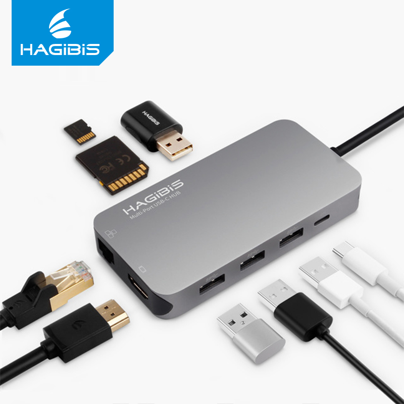 Hagibis 9-en-1 USB C Type-c HUB 3.0 USB-C à HDMI 4 k SD/ TF Lecteur de Carte PD de charge Gigabit Ethernet Adaptateur pour MacBook Pro HUB