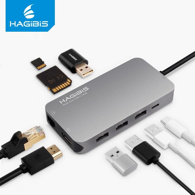 Hagibis 9-en-1 USB c type-c HUB 3.0 USB-C vers HDMI 4 K SD/TF lecteur de carte PD chargeur Gigabit Ethernet adaptateur pour MacBook Pro HUB
