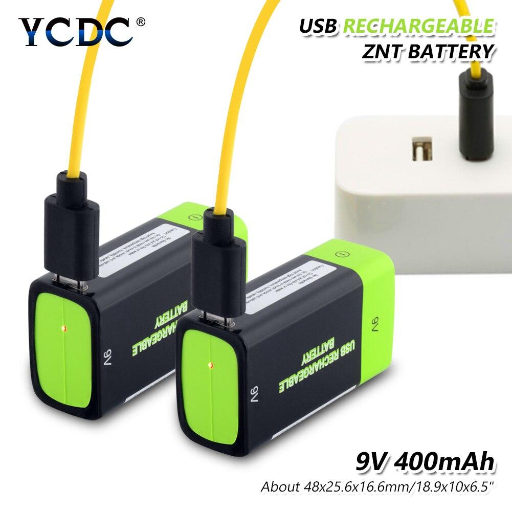 2x Rechargeable 400mAh 9 V Lithium polymère Lipo Batteries chargeur USB 9 volts 48x25.6x16.9cm li-polymère batterie avec câble Usb