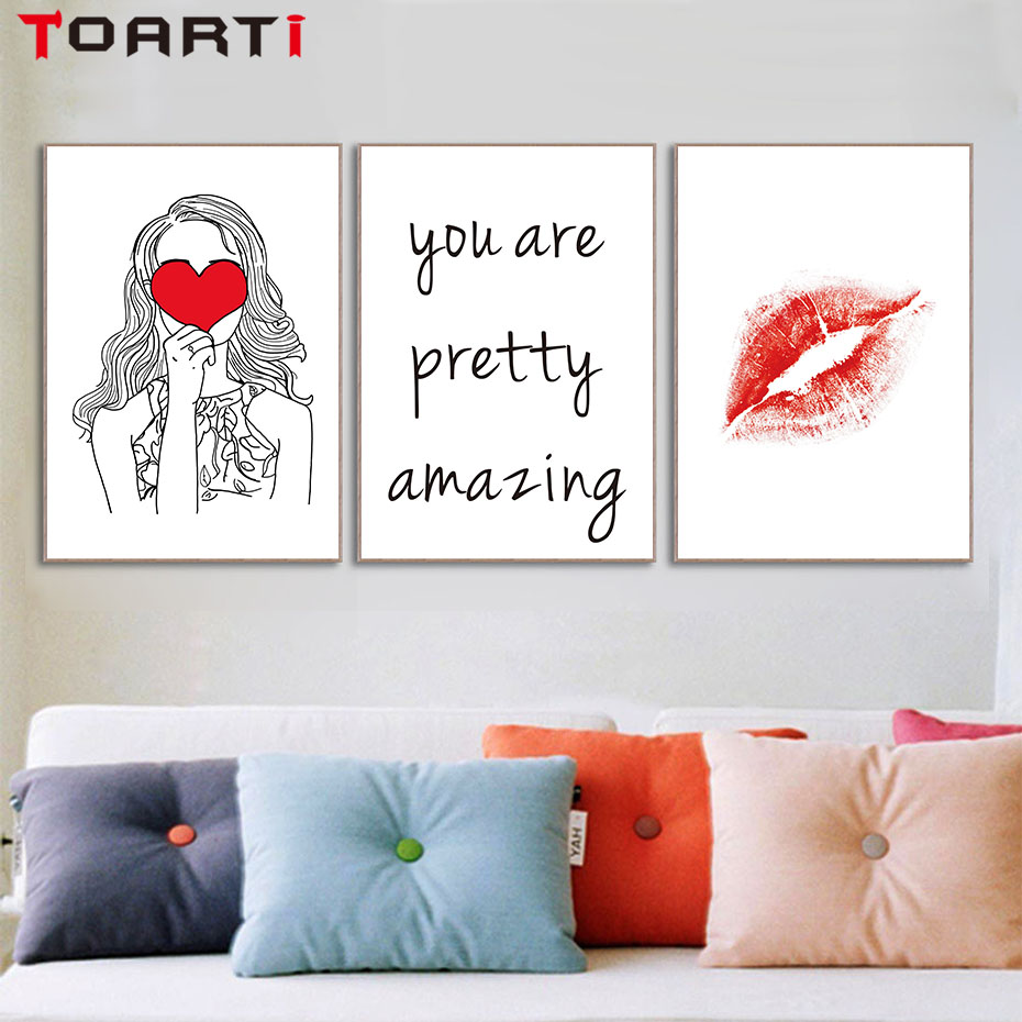 Simple Quotes On LIfe Red Heart Girls Red Lips Art Canvas Print Painting Poster Wall Pictures Printable Home Decor No Framed in Painting Calligraphy from Home Garden
