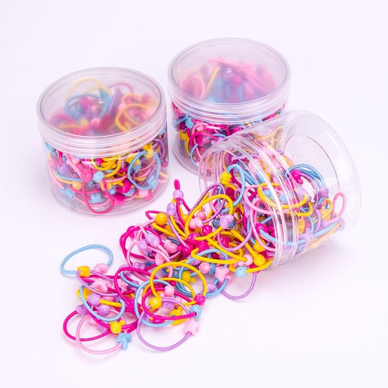 100 шт./компл. для маленьких девочек эластичные резиновые ленты для волос красочный цветок луки Симпатичные волосы веревка дети Детская вечеринка подарок аксессуары для волос