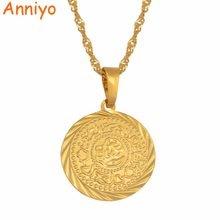 Anniyo-collares con amuleto colgante con moneda, Color dorado, señal de dinero árabe africano, cadena de joyería, moneda de Oriente Medio, regalo #049606