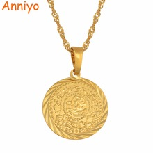 Anniyo Coin Charm Pendant Necklaces Gold Color Arab African Money Sign Chain Jewelry Middle Eastern Coin Money Maker Gift#049606