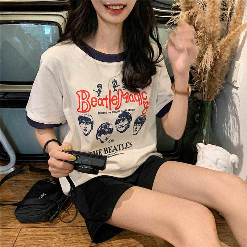 NiceMix Harajuku Patchwork tshirt Women Summer T-shirt Cotton Vintage Punk Tee Shirt Femme Retro Street Wear Chic Female Tops Ko