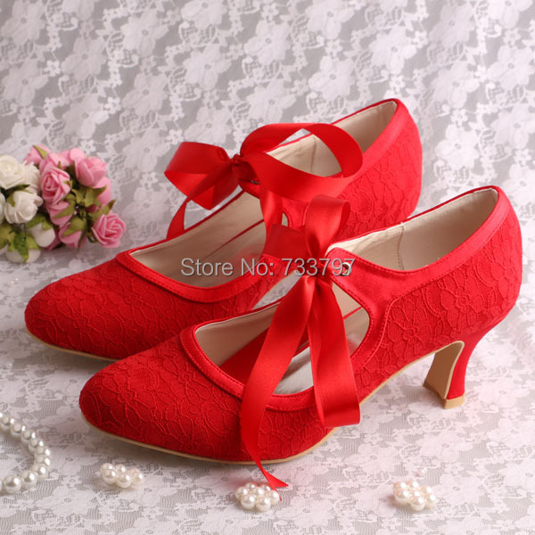 9a64ef1f029 Wedopus Mary Jane Lace up White Wedding Shoes Bride Low Heels High Quality-in  Women s Pumps from Shoes on Aliexpress.com
