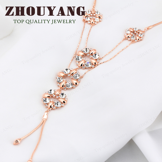 Top Quality Crystal Flowers Sweater Coat Chain  Rose Gold Plated Pendant Necklace Jewelry Austrian Crystal  Wholesale ZYM046