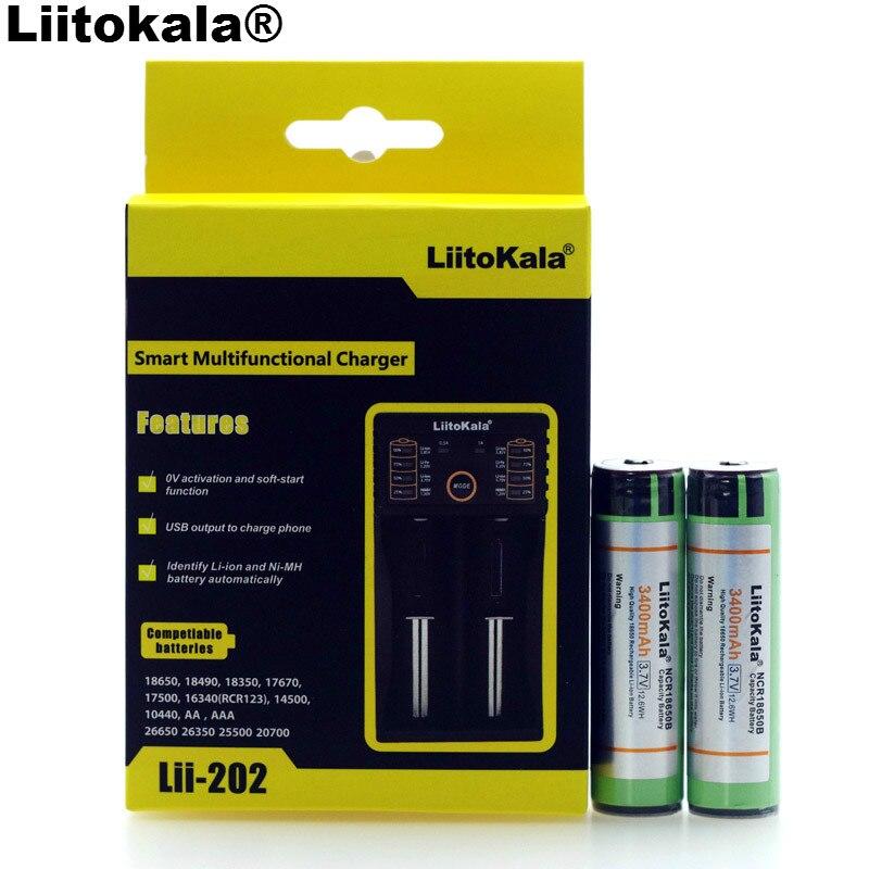 Liitokala Lii-202 1.2 V 3.2 V 3.7 V 26650 Chargeur + 2 PCS D'origine NCR18650B 3400 mAh 18650 Rechargeable Batterie + PCB Pour Panasonic