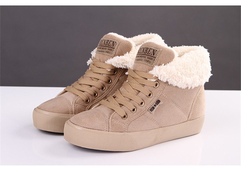 New Women Winter Faux Suede Leather Warm Plush Ankle Boots Autumn Women Shoes Fur Snow Boots Comfortable Running Shoes Sneakers 5