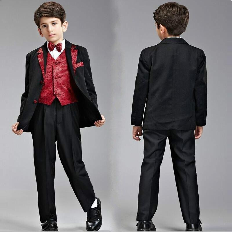 WF3023 Caliente Formal Vestimenta masculina Blazers Niños Niños Smoking Traje Niños Trajes Para Bodas 2016 Más