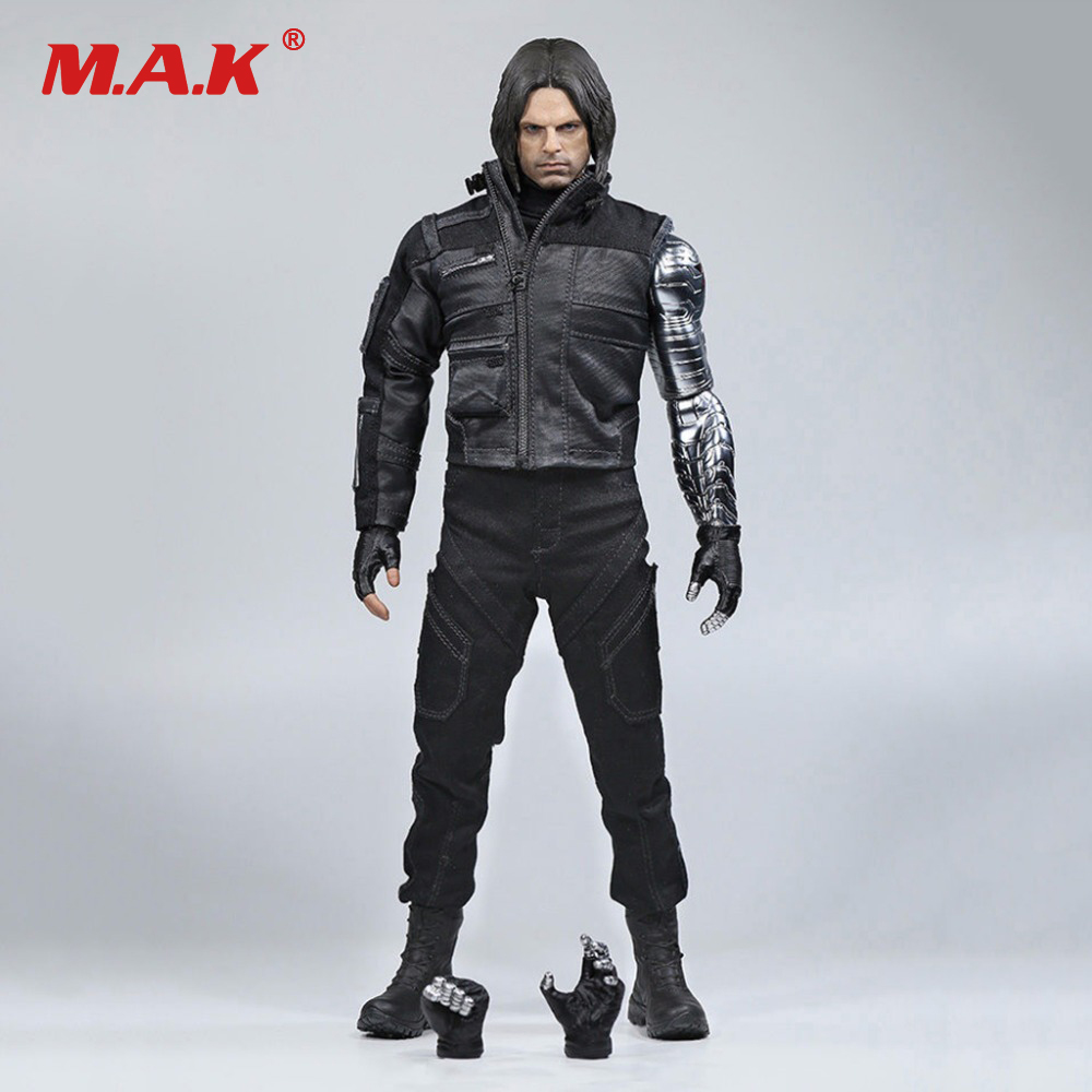 Pre order 1/6 Winter Soldier Bucky Barnes With Mechanical Arm Captain American Civil War Action Figure Combat Suit Version Box american war